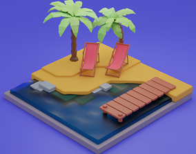 3D Isometric Beach Scene