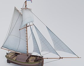 Sailing yacht of the 18th century 3D asset