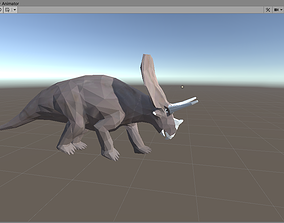 LowPoly Triceratops 3D asset animated