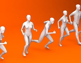 3D model low-poly 6 Running People Minimalist