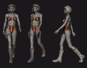 Heroic Female Character in A and Walking Poses 3D