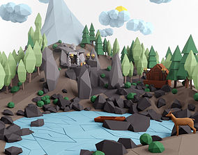 3D asset Low poly lanscape mountain hill tree lake and 2