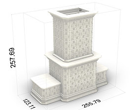 Piec Kaflowy Tiled Stove Vintage 01 3D model