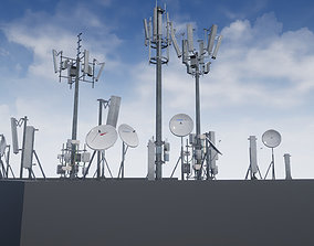 Cellular TV Radio Antenna towers 3D asset