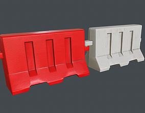 3D asset Plastic Traffic Barrier PBR Game Ready