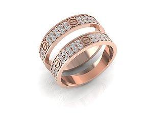 3D print model Wedding ring full diamond catier love 101