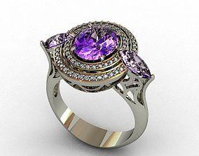 Diamond and Aquamarine ring 3D printable model