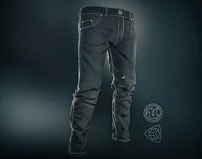 3D asset Black Jeans Pants