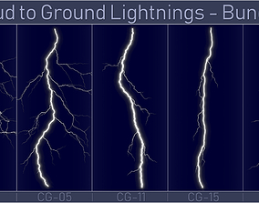 3D model Realistic Lightnings Bundle 01 - 5 pack