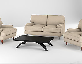 Realistic Sofa Collection Arm Chair and Two Seat Sofa 1