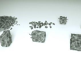 Demolished Concrete and stones - 7 3D models brick