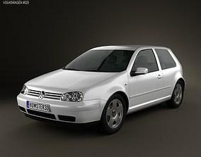 3D model Volkswagen Golf IV 3-door 1997