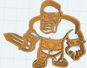 clash of clan - barbarian king ver cookie cutter for 3d