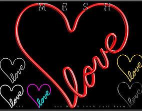 Wire Heart Shaped Love 3D asset