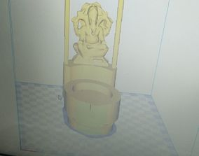 Candle stand with Lord Ganesha Idol 3D print model