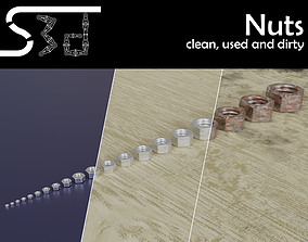Nuts clean used dirty 3D asset