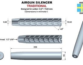 Airgun silencer traditional caliber 30 3D print model
