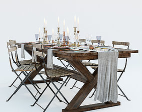 3D Festive table setting with chairs