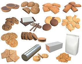 3D Cookie package packaged blank mock-up