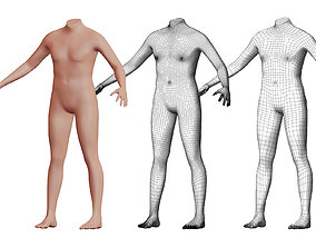 Character 15 High and Low-poly - Body male 3D model