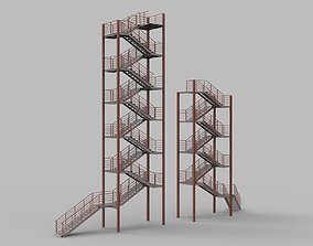 Metal stairs 3D with