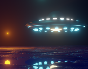 3D model Flying Saucer UFO with Sci-fi Environment