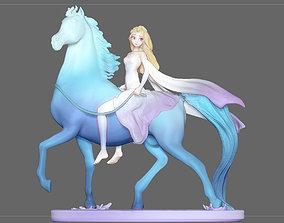 Elsa on horse white dress FROZEN2 disney 3D print model 2