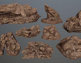 desert rocks 3D model game-ready gate