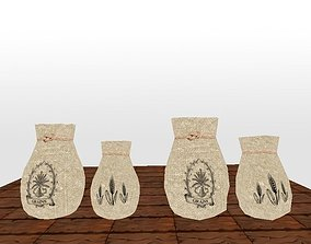 3D model flour sack high and low poly textured