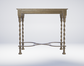 17th Century Small Wooden Table 3D model