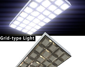 Fluorescent Light - grid-type - PBR Game-Ready 3D asset