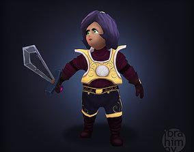 Fantasy cartoon girl warrior 3D model