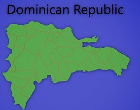 Dominican Republic 3D Map with regions