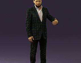 3D Man in jacket pink shirt 0411