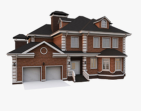 stone American Woodframe House With Garage 3D