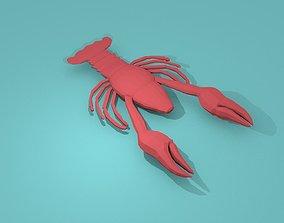 Lowpoly sea - ocean animals stingray dolphin 3D asset 1