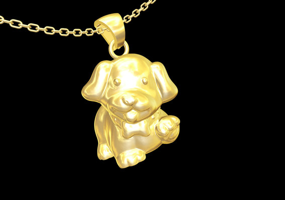 Happy Small Dog pendant jewelry gold necklace medallion 3D print model