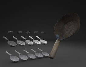 Scanned Old Corrosion Dipper LOW POLY LODs 3D asset