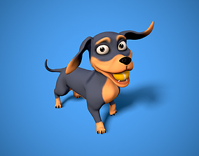 3D asset cartoon dachshund