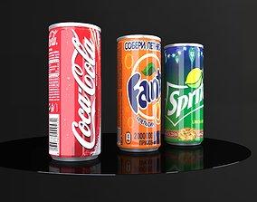 Coca Cola Fanta Sprite Cans 3D model