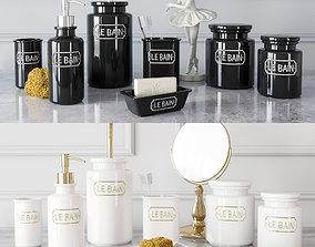 Decor set Wess Le Bain - gris and blanc 3D model