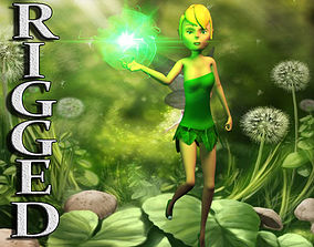Rigged cartoon fairy 3D model