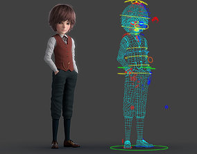 3D model Cartoon Boy Rigged student