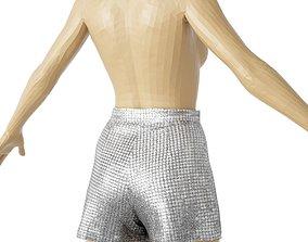 Shorts Silver Glitter Mirror Clothing Vintage 3D asset