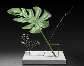 Postures Vase with Monstera 3D model