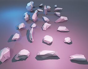 3D asset low-poly low poly stylized rocks