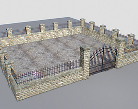 3D model Stone fence wall pack 1