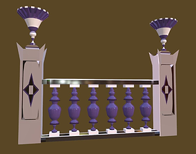 Balustrade Violaceous Palace Decor Baroque - 3 3D model