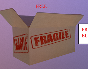 3D asset low-poly medium-material CardBoard Box