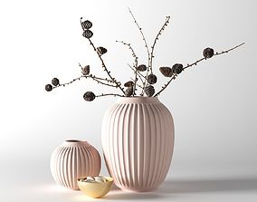 Hammershoi Vases with Pine Cone Branches 3D model